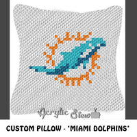 Custom Miami Dolphins Logo crochet pillow pattern; C2C pillow pattern, crochet pillow case; pdf download; instant download