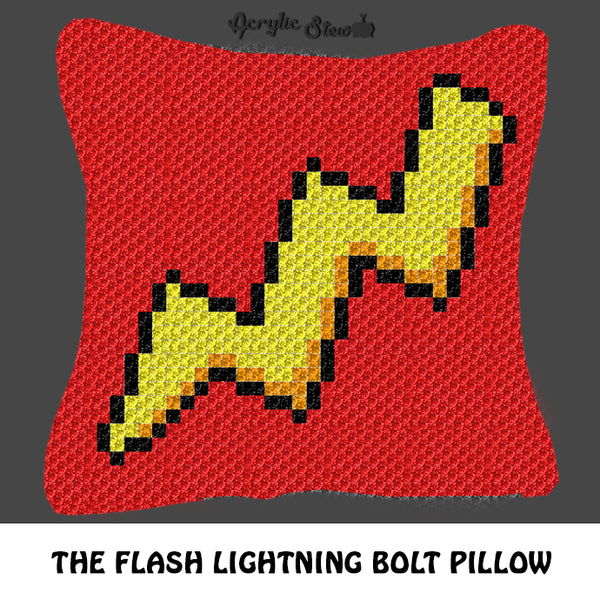 The Flash Superhero Lightning Bolt Logo crochet graphgan pillow pattern; C2C pillow pattern, crochet pillow case; pdf download; instant download
