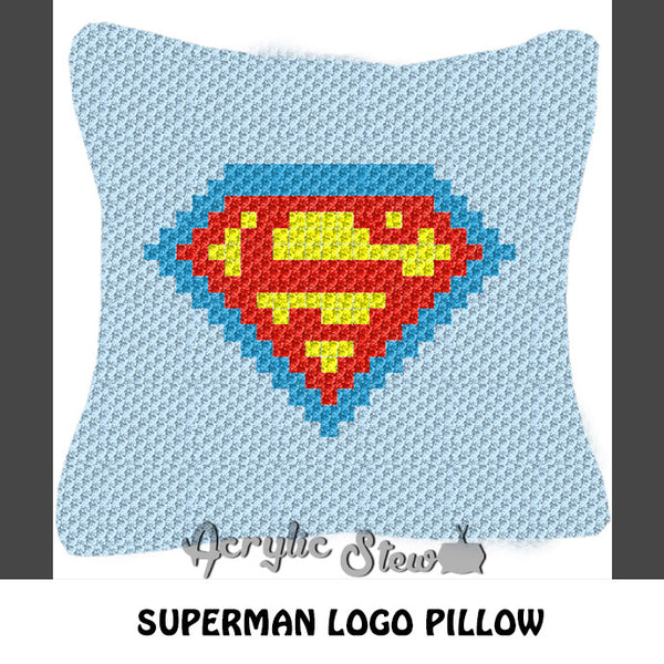 Superman DC Comics Superhero Logo crochet pillow pattern; C2C pillow pattern, crochet pillow case; pdf download; instant download