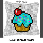 Kawaii Cupcake with Cherry crochet pillow pattern; C2C pillow pattern, crochet pillow case; pdf download; instant download