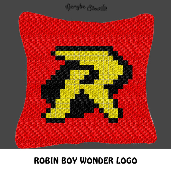 Robin Boy Wonder Superhero Letter Logo crochet graphgan pillow pattern; C2C pillow pattern, crochet pillow case; pdf download; instant download