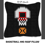 Basketball and Basketball Hoop crochet pillow pattern; C2C pillow pattern, crochet pillow case; pdf download; instant download