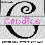 Custom Personalized Fancy Curly Font Letter C and Custom Name crochet graphgan blanket pattern; graphgan pattern, c2c, cross stitch graph; pdf