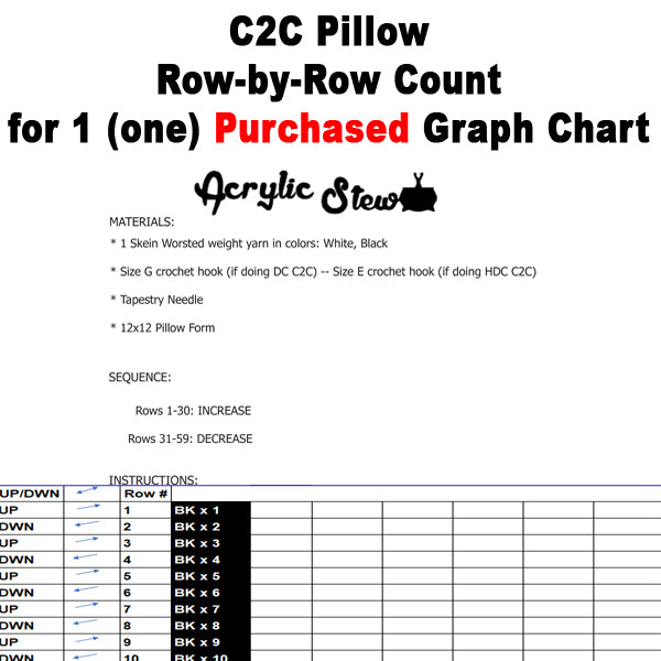 C2C Pillow Row-by-Row Counts for 1 (one) Purchased Graph Chart crochet blanket pattern; graphgan pattern, pdf
