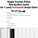 Single Crochet Pillow Row-by-Row Counts for 1 (one) Purchased Graph Chart crochet blanket pattern; graphgan pattern, pdf