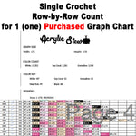Single Crochet (sc) Row-by-Row Counts for 1 (one) Purchased Graph Chart crochet blanket pattern; graphgan pattern, pdf