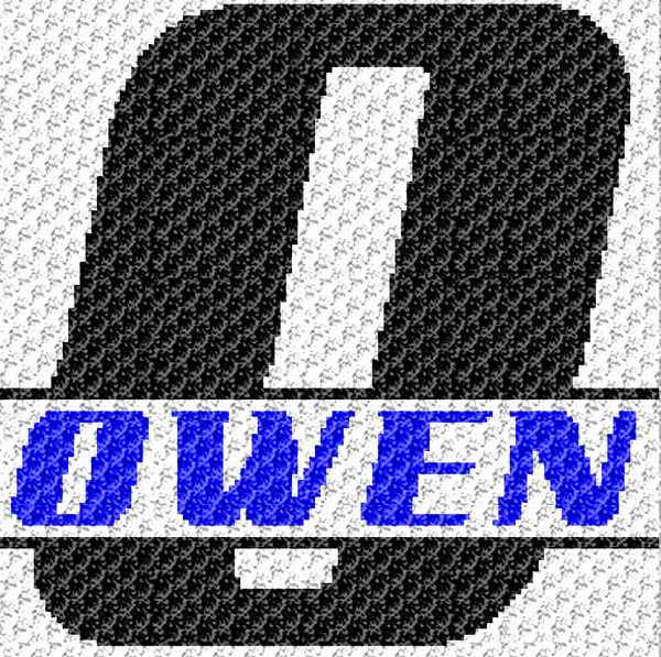 Custom Personalized Letter 'O' and Custom Name for Boy crochet graphgan blanket pattern; graphgan pattern, c2c, single crochet; cross stitch; graph; pdf