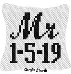Custom Mr Script Font with Wedding Date crochet graphgan pillow pattern; C2C pillow pattern, crochet pillow case; pdf download; instant download