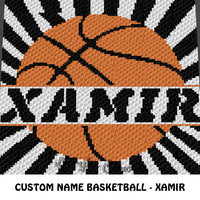 Custom Personalized Name Basketball Xamir crochet blanket pattern; graphgan pattern, c2c, cross stitch graph; pdf download; instant download