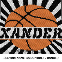 Custom Personalized Name Basketball Xander crochet blanket pattern; graphgan pattern, c2c, cross stitch graph; pdf download; instant download