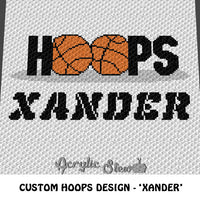 Custom Personalized Hoops Basketball Design Xander crochet blanket pattern; graphgan pattern, c2c, cross stitch graph; pdf download; instant download
