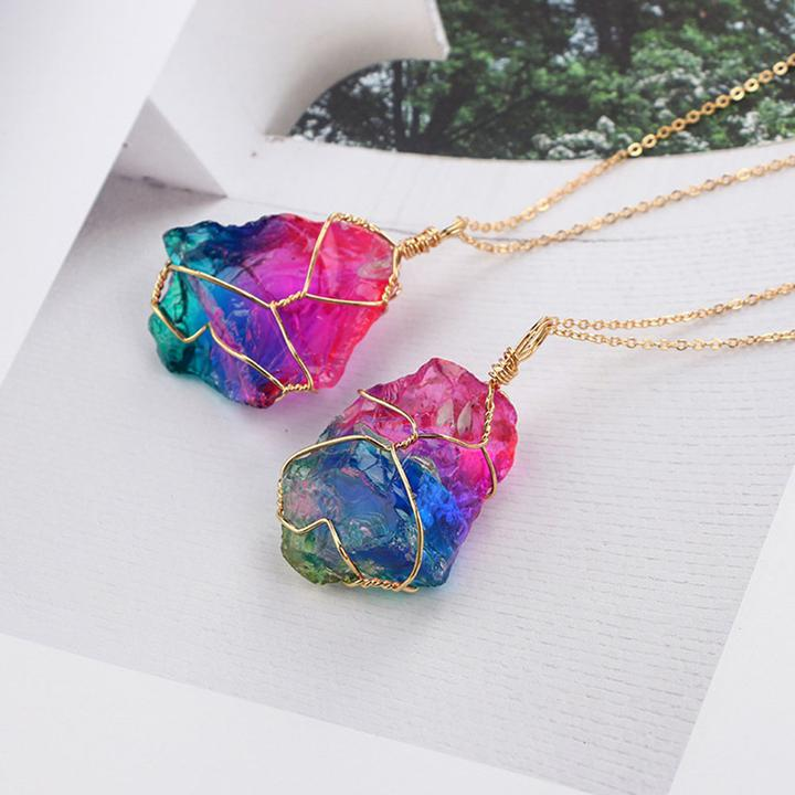 Rainbow Crystal Necklace-ArtDixit