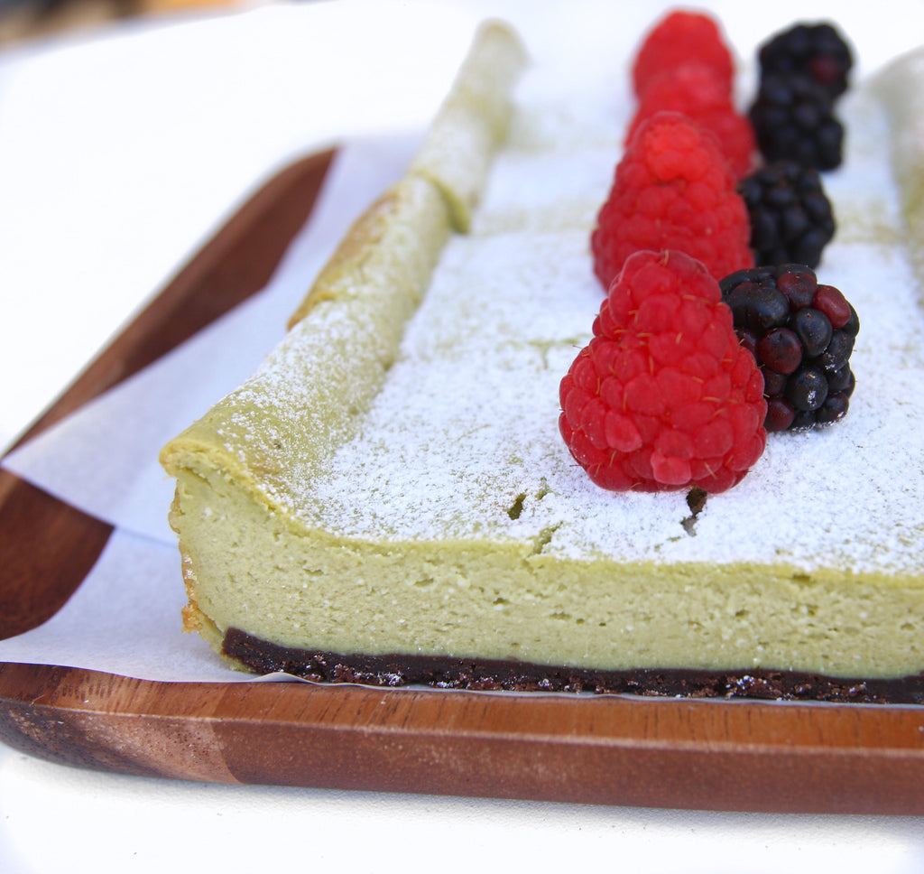 photo of matcha chocolate cheesecake