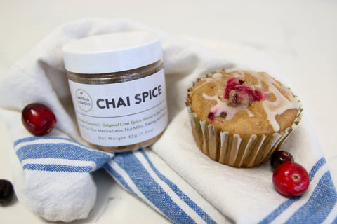 chai spice cranberry nut muffin