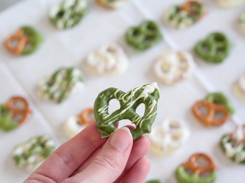 matcha and white chocolate covered pretzels