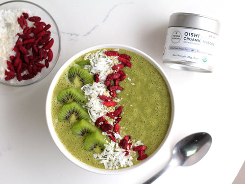 photo of super green matcha smoothie bowl