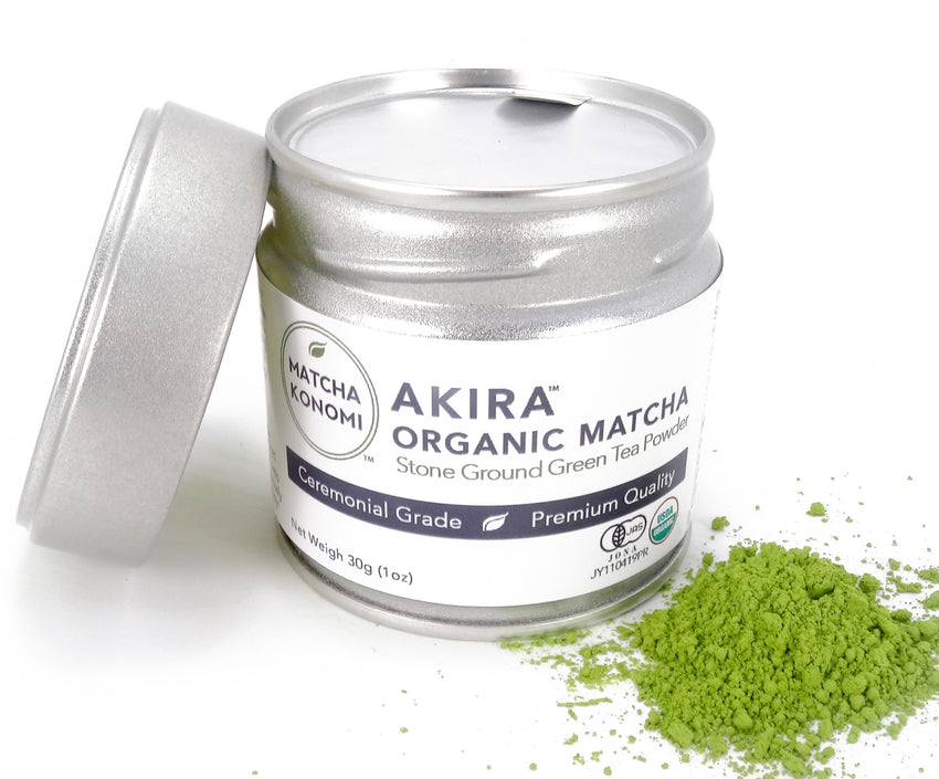 Akira Organic Premium Ceremonial Matcha Green Tea Powder 30g (1oz) Tin - Matcha Konomi