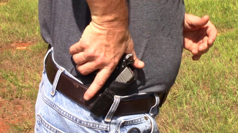 Image of inside the waistband iwb holster with a belt clip at the range