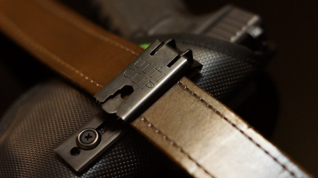 The Fusion holster with an Ulticlip XL belt clip