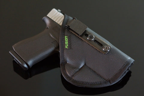 Image of Glock non slip supported inside the waistband iwb holster with the security of an Ulticlip.