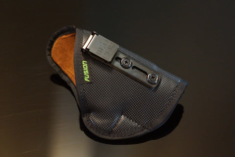 Image of inside the waistband IWB holster lined with a micro suede fabric with a clip