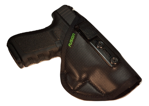 Image of Glock inside the waistband iwb holster with a concealable clip.