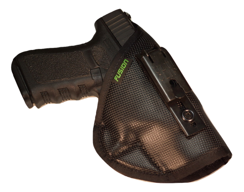 Image of S&W inside the waistband iwb holster with a belt clip.