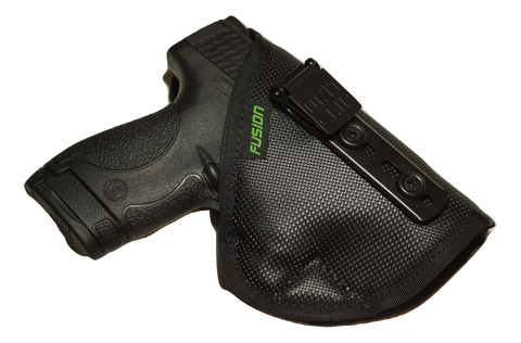 Image of S&W M&P Shield inside the waistband iwb holster with a concealable clip.