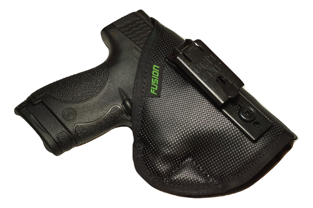S&W M&P Shield inside the waistband iwb holster with a belt clip.