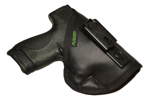 Image of S&W M&P Shield inside the waistband iwb holster with a belt clip.