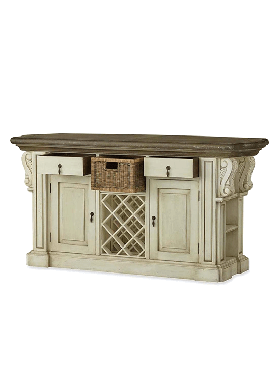 Roosevelt Kitchen Island w/Corbels and Basket