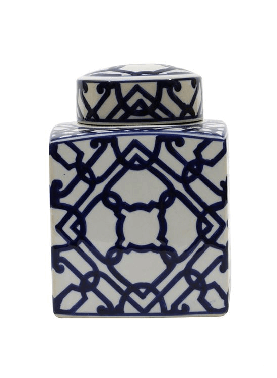 8-1/2 x6-1/2 Square Decor Ceramic Ginger Jar w/Lid Blue and White