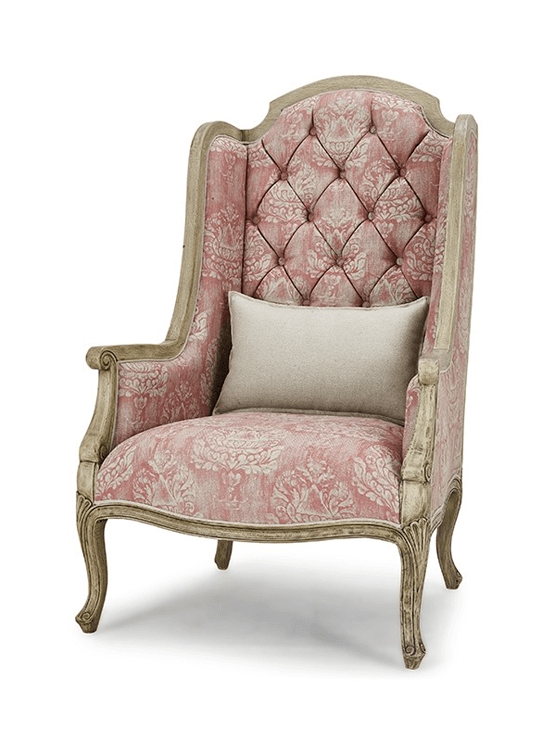 Benodet Wing Chair w/ Tufted Cushions