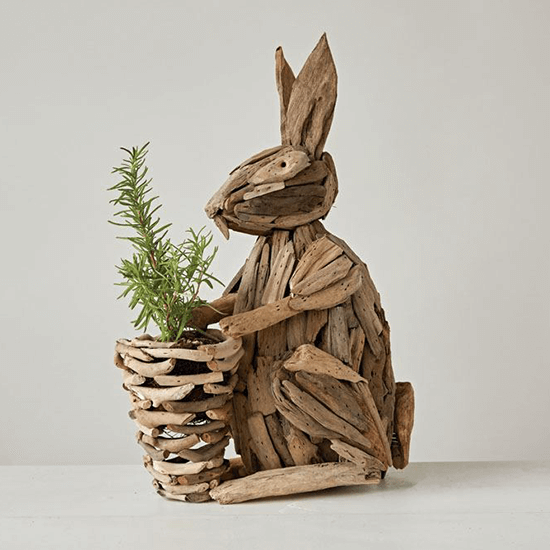 18 H Driftwood Sitting Rabbit w/Basket