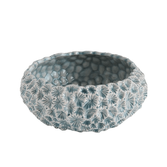 9-1/4'' Round x 4''H Ceramic Planter, Light Blue w/ Texture