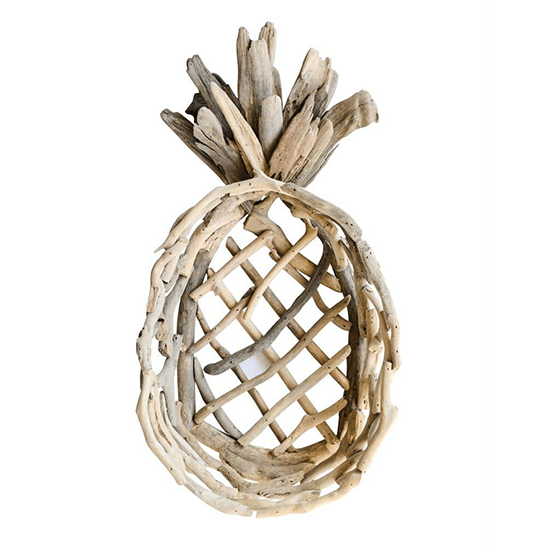 20''L x 10-1/2''W x 4''H Decorative Driftwood Pineapple Tray