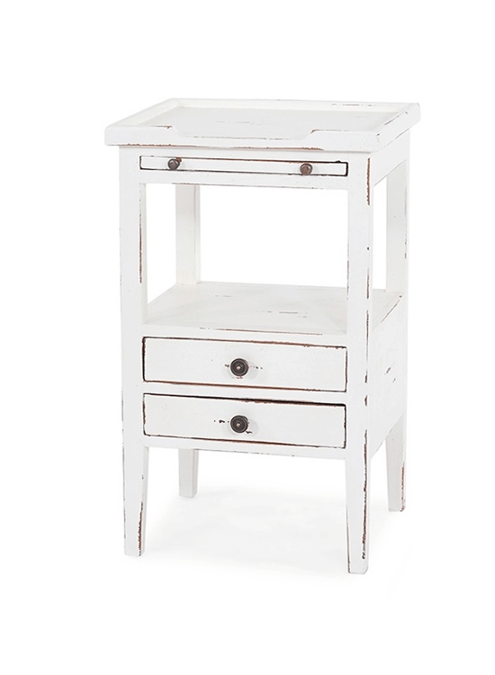 Eton 2 Drawer Side Table w/ Pull-out Shelf