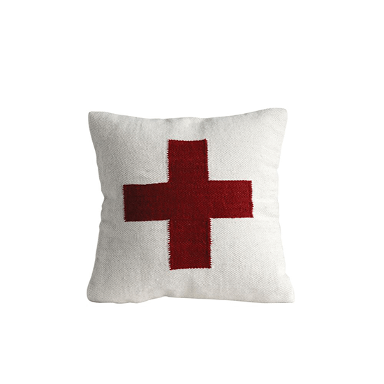 20'' Square Wool Blend Pillow w/ Red Cross