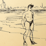 1955 Beach Sketch by Andre Laford, 17x21