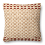 22'' ED Jute Wool Indian Pillow, Rust/Multi