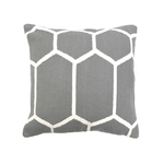 Grey & White Cotton Hexagon Woven Pillow, 20x20