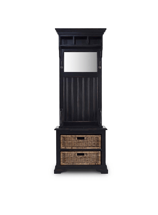 Homestead Narrow Hallstand w/ Rattan Baskets