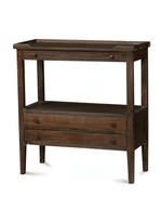 Wide Eton 2 Drawer Side Table with Pull Out Shelf