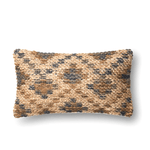 Brown and Beige Jute Wool Cotton Down Pillow 13x21