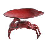 Cast Iron Crab Soap Dish, Distressed Red