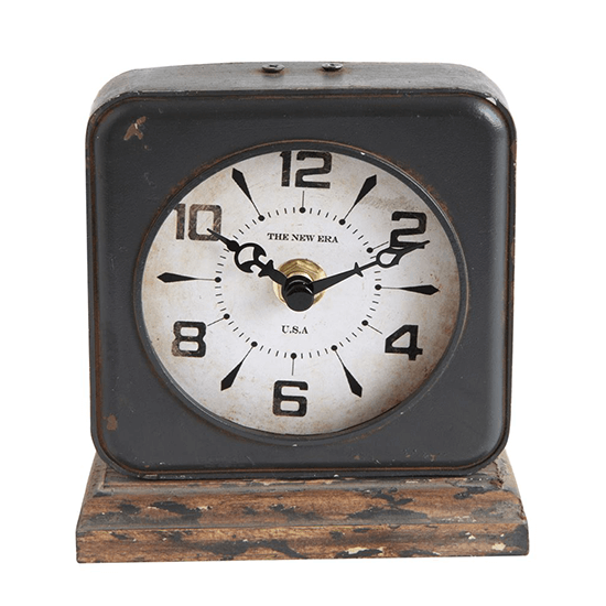 Distressed Pewter Clock