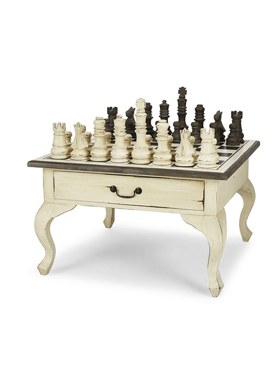 Gentlemans Chess Table 2 Drawer w/Chess Set