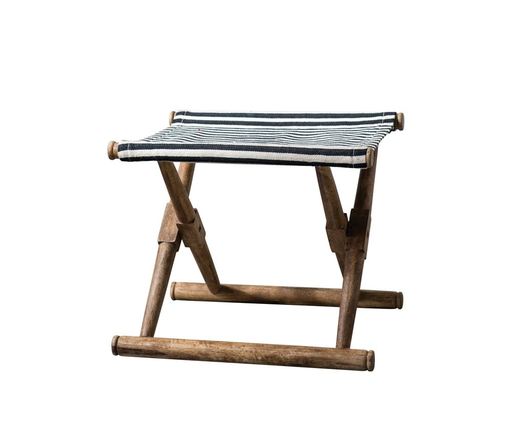 Mango Wood & Cotton Woven Striped Folding Stool, Black