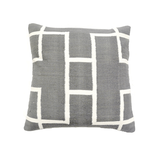 Grey & White Cotton Rectangles Woven Pillow, 20x20