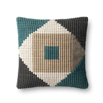 Teal and Multi Pattern 18x18 Down Pillow